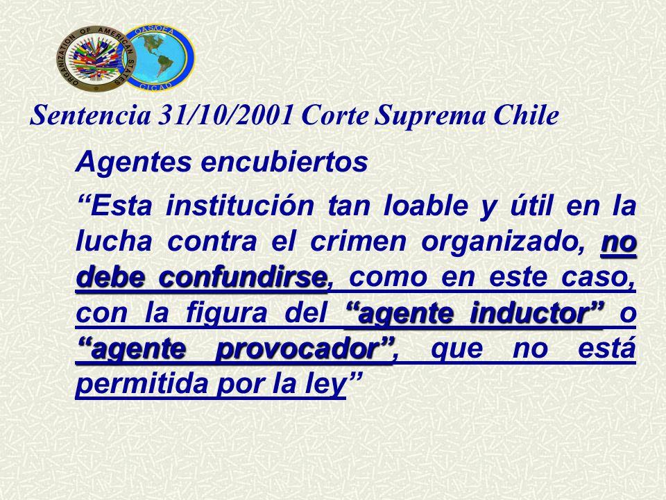 Agentes encubiertos Sentencia 31/10/2001 Corte Suprema Chile