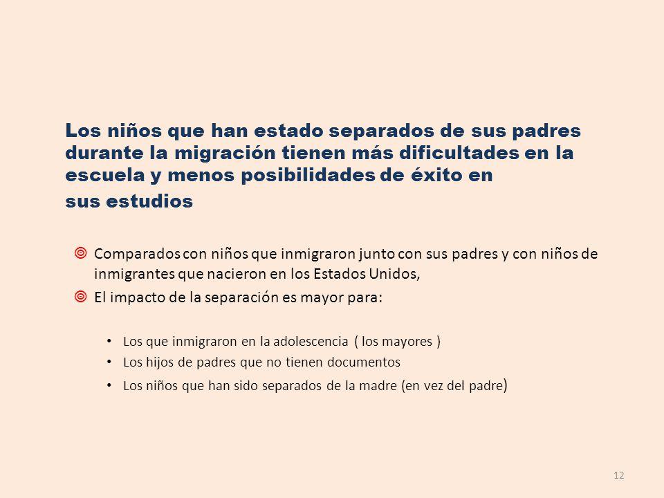 Los niños que han estado separados de sus padres durante la migración tienen más dificultades en la escuela y menos posibilidades de éxito en