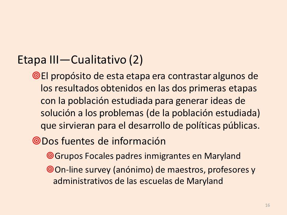 Etapa III—Cualitativo (2)