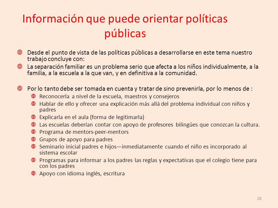 Información que puede orientar políticas públicas