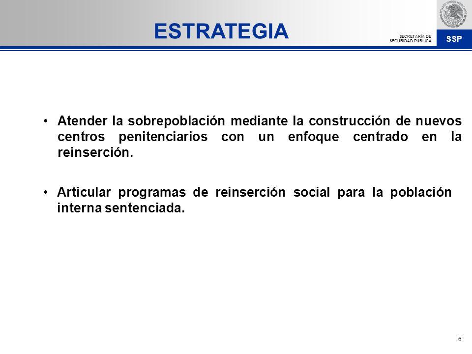 ESTRATEGIA Atender la sobrepoblación mediante la construcción de nuevos centros penitenciarios con un enfoque centrado en la reinserción.