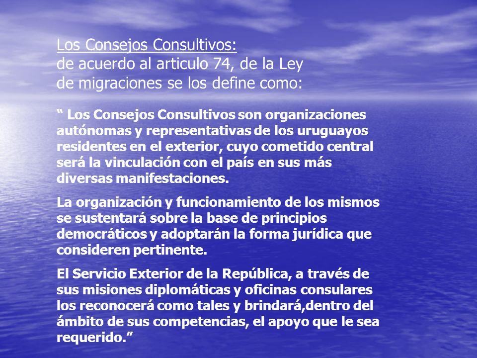 Los Consejos Consultivos: de acuerdo al articulo 74, de la Ley de migraciones se los define como: