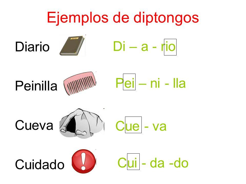 Ejemplos de diptongos Diario Di – a - rio Peinilla Pei – ni - lla