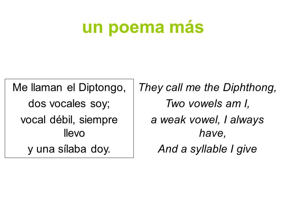 un poema más Me llaman el Diptongo, dos vocales soy;