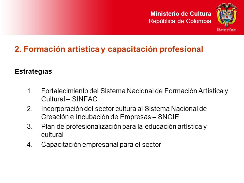 2. Formación artística y capacitación profesional