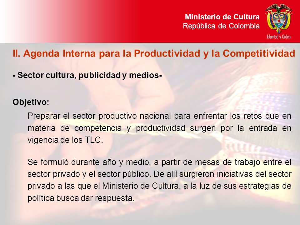 II. Agenda Interna para la Productividad y la Competitividad