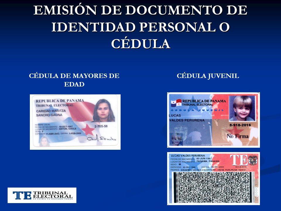 EMISIÓN DE DOCUMENTO DE IDENTIDAD PERSONAL O CÉDULA