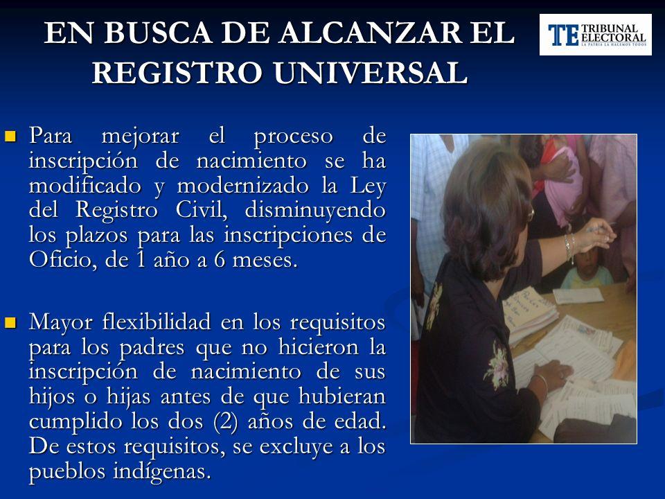 EN BUSCA DE ALCANZAR EL REGISTRO UNIVERSAL