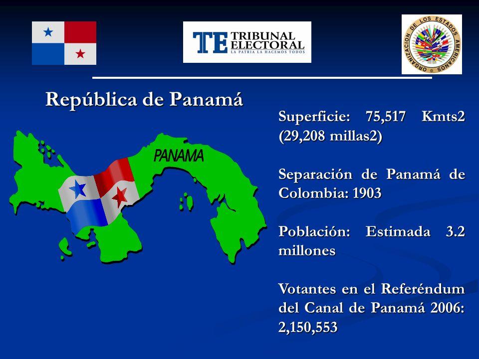 República de Panamá Superficie: 75,517 Kmts2 (29,208 millas2)