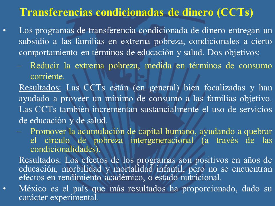 Transferencias condicionadas de dinero (CCTs)