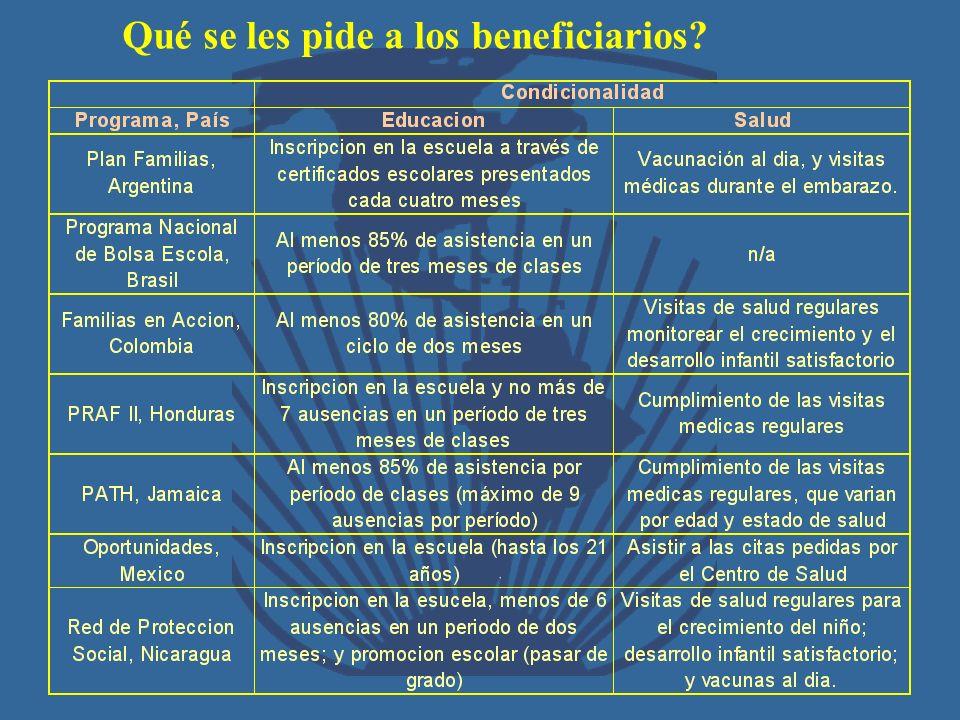 Qué se les pide a los beneficiarios