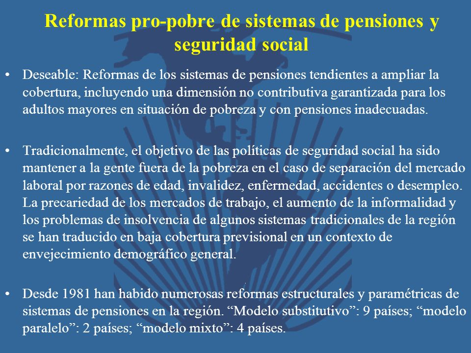 Reformas pro-pobre de sistemas de pensiones y seguridad social