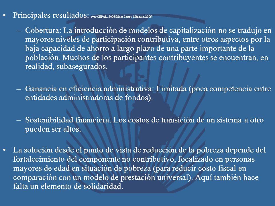 Principales resultados: (ver CEPAL, 2006; Mesa Lago y Márquez, 2006)