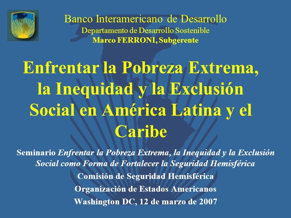 Banco Interamericano de Desarrollo Departamento de Desarrollo Sostenible Marco FERRONI, Subgerente