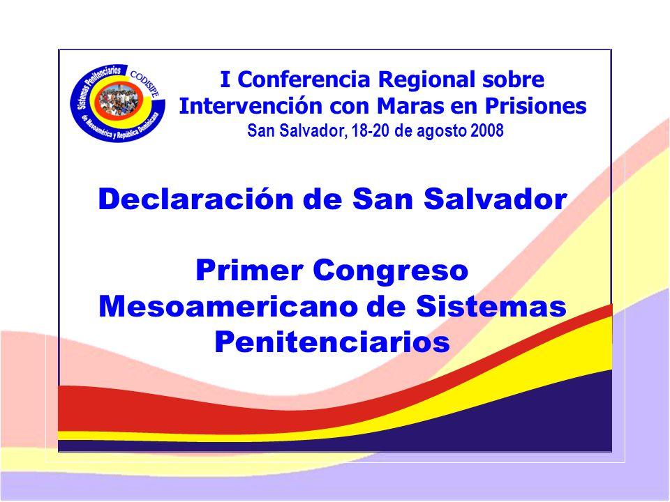 I Conferencia Regional sobre Intervención con Maras en Prisiones