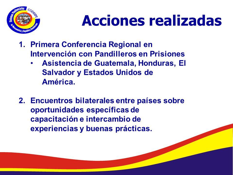 Acciones realizadas Primera Conferencia Regional en Intervención con Pandilleros en Prisiones.
