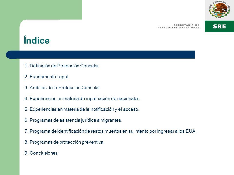 Índice 1. Definición de Protección Consular. 2. Fundamento Legal.