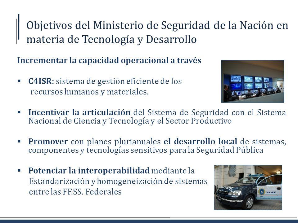 Objetivos del Ministerio de Seguridad de la Nación en materia de Tecnología y Desarrollo