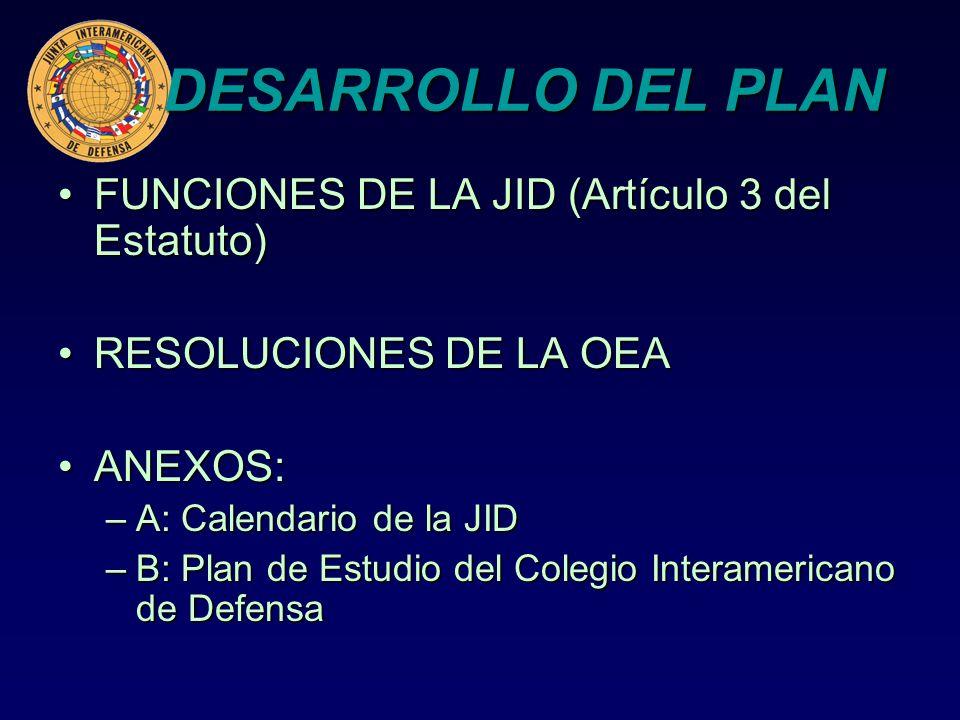 DESARROLLO DEL PLAN FUNCIONES DE LA JID (Artículo 3 del Estatuto)