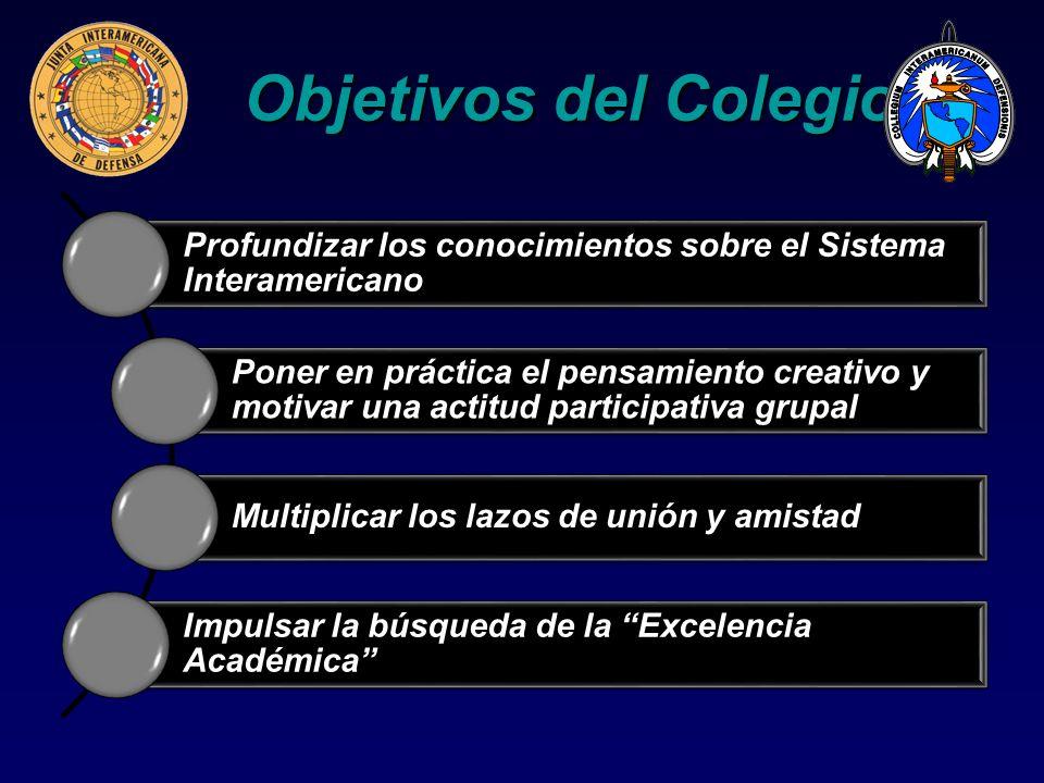 Objetivos del Colegio Profundizar los conocimientos sobre el Sistema Interamericano.