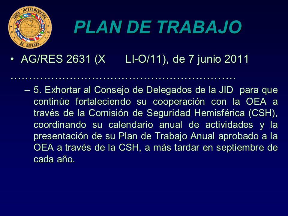 PLAN DE TRABAJO AG/RES 2631 (X LI-O/11), de 7 junio 2011