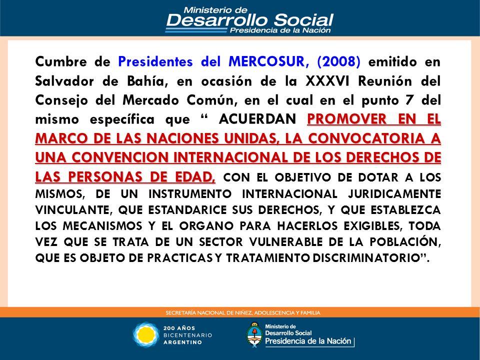 Cumbre de Presidentes del MERCOSUR, (2008) emitido en Salvador de Bahía, en ocasión de la XXXVI Reunión del Consejo del Mercado Común, en el cual en el punto 7 del mismo específica que ACUERDAN PROMOVER EN EL MARCO DE LAS NACIONES UNIDAS, LA CONVOCATORIA A UNA CONVENCION INTERNACIONAL DE LOS DERECHOS DE LAS PERSONAS DE EDAD, CON EL OBJETIVO DE DOTAR A LOS MISMOS, DE UN INSTRUMENTO INTERNACIONAL JURIDICAMENTE VINCULANTE, QUE ESTANDARICE SUS DERECHOS, Y QUE ESTABLEZCA LOS MECANISMOS Y EL ORGANO PARA HACERLOS EXIGIBLES, TODA VEZ QUE SE TRATA DE UN SECTOR VULNERABLE DE LA POBLACIÓN, QUE ES OBJETO DE PRACTICAS Y TRATAMIENTO DISCRIMINATORIO .