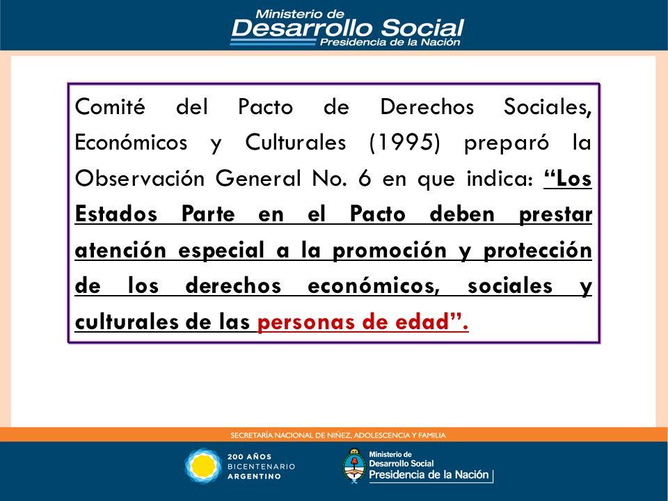 Comité del Pacto de Derechos Sociales, Económicos y Culturales (1995) preparó la Observación General No.