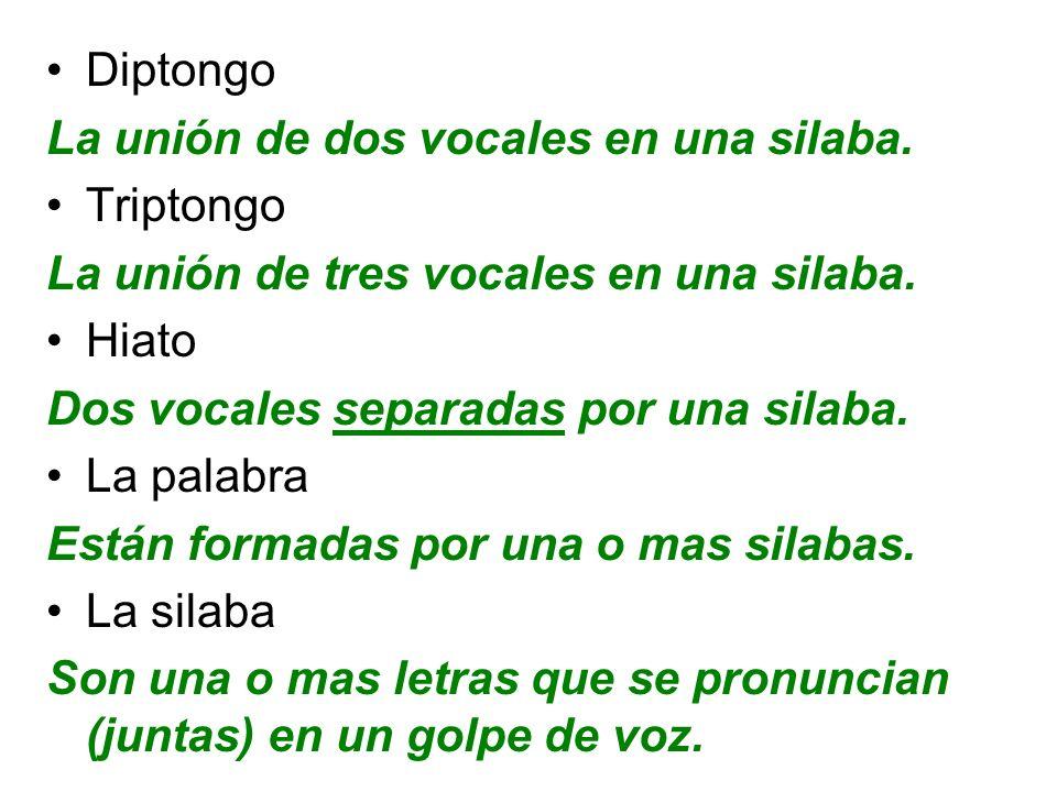 Diptongo La unión de dos vocales en una silaba. Triptongo. La unión de tres vocales en una silaba.