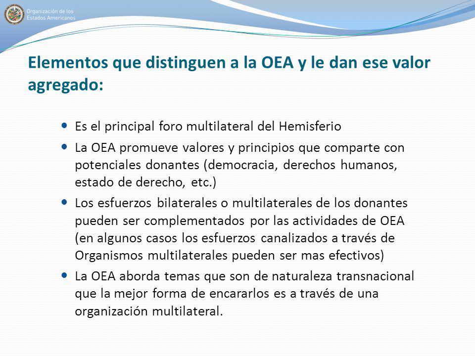 Elementos que distinguen a la OEA y le dan ese valor agregado: