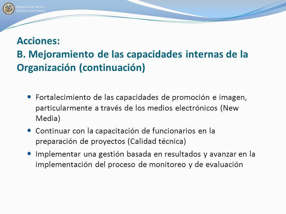 Acciones: B. Mejoramiento de las capacidades internas de la Organización (continuación)