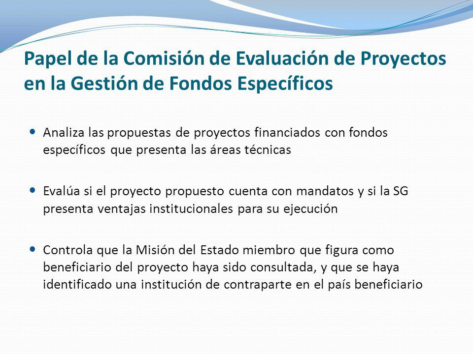 Papel de la Comisión de Evaluación de Proyectos en la Gestión de Fondos Específicos