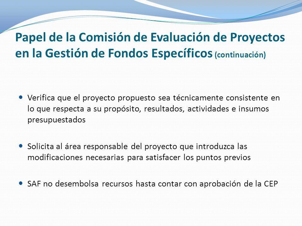 Papel de la Comisión de Evaluación de Proyectos en la Gestión de Fondos Específicos (continuación)