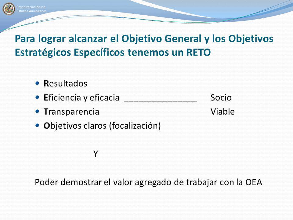 Para lograr alcanzar el Objetivo General y los Objetivos Estratégicos Específicos tenemos un RETO