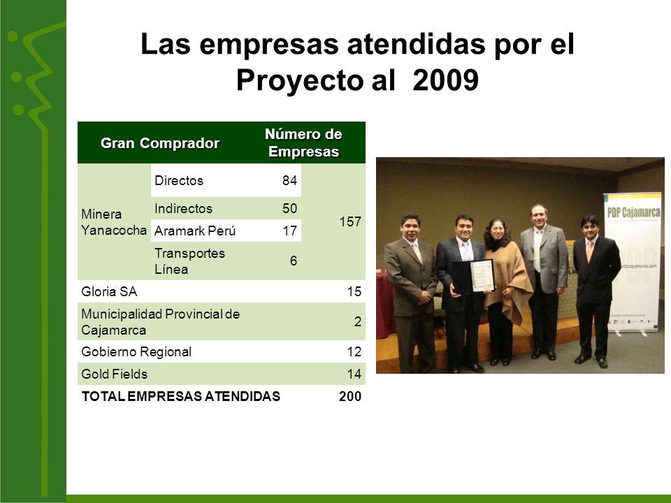 Las empresas atendidas por el Proyecto al 2009