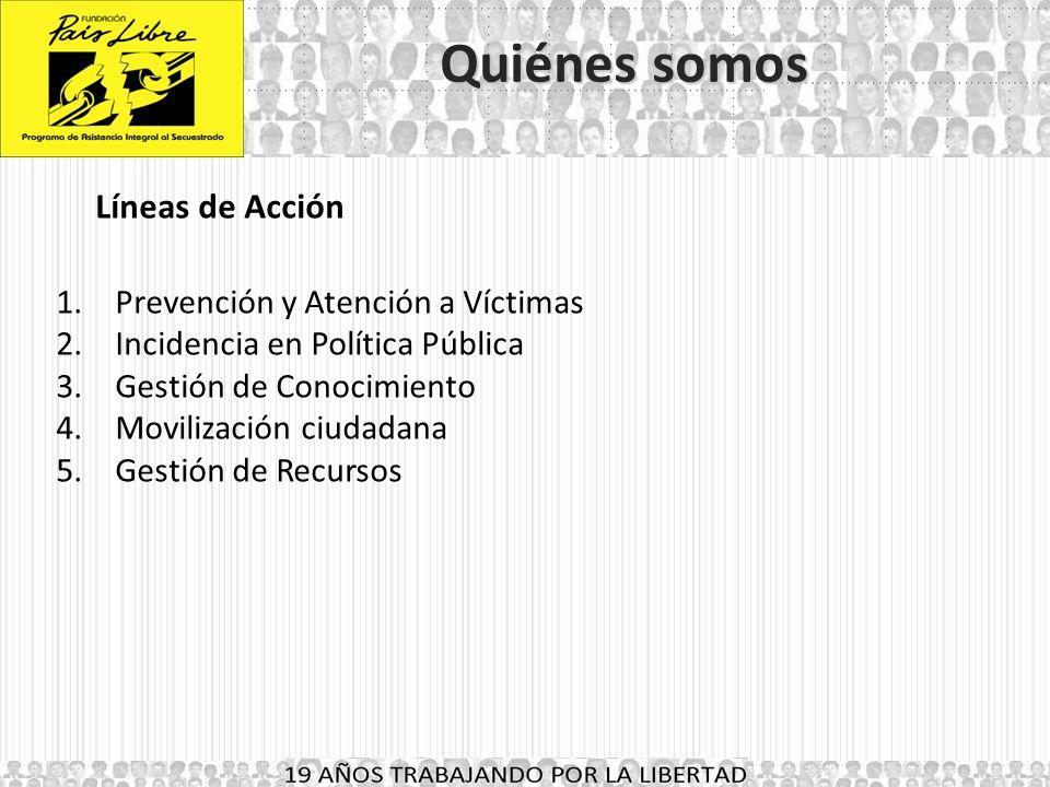 Quiénes somos Líneas de Acción Prevención y Atención a Víctimas