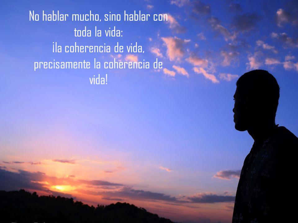 No hablar mucho, sino hablar con toda la vida: ¡la coherencia de vida, precisamente la coherencia de vida!