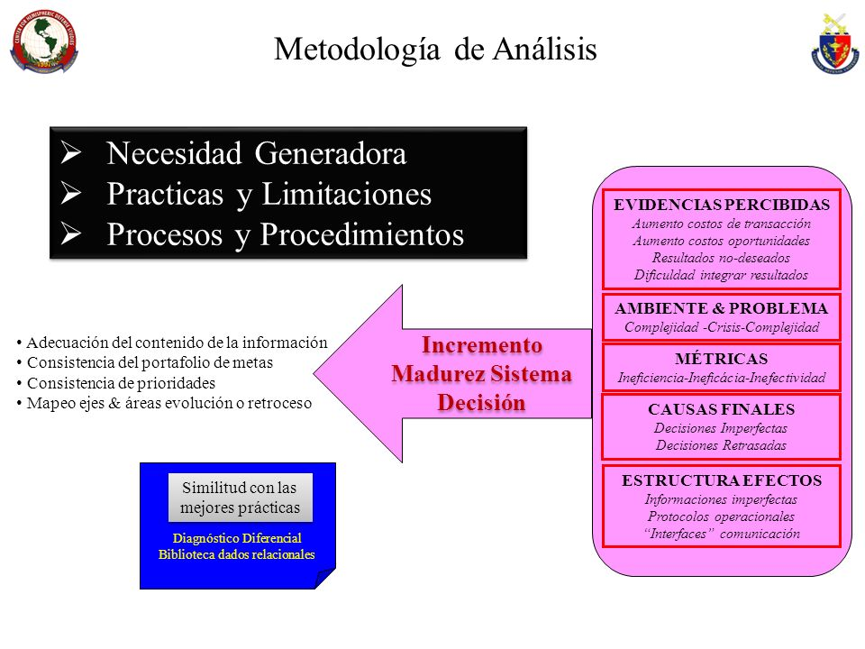 EVIDENCIAS PERCIBIDAS Incremento Madurez Sistema Decisión