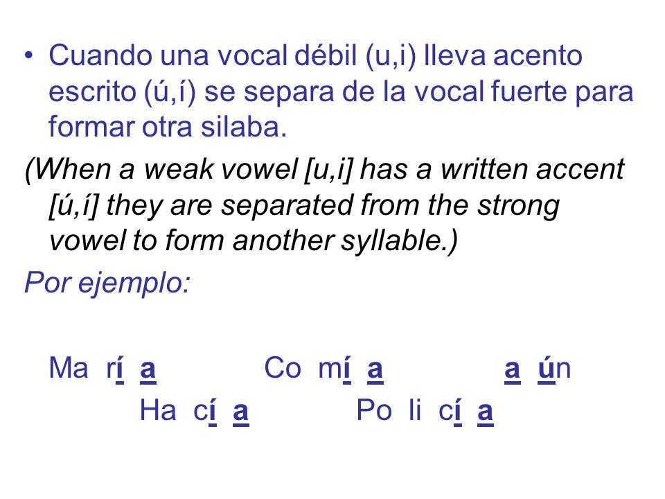 Cuando una vocal débil (u,i) lleva acento escrito (ú,í) se separa de la vocal fuerte para formar otra silaba.