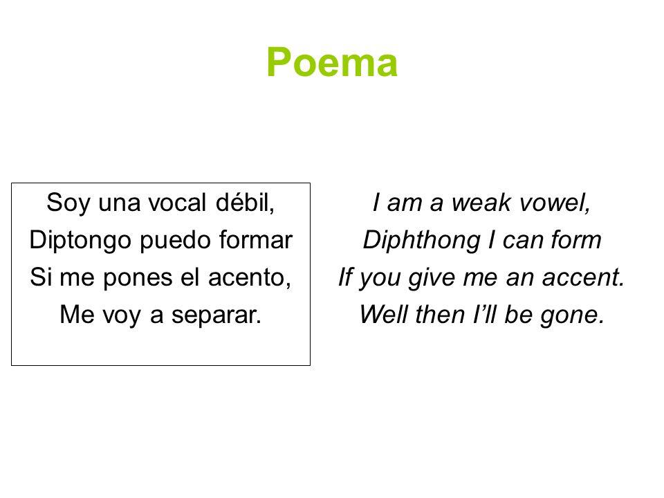 Poema Soy una vocal débil, Diptongo puedo formar