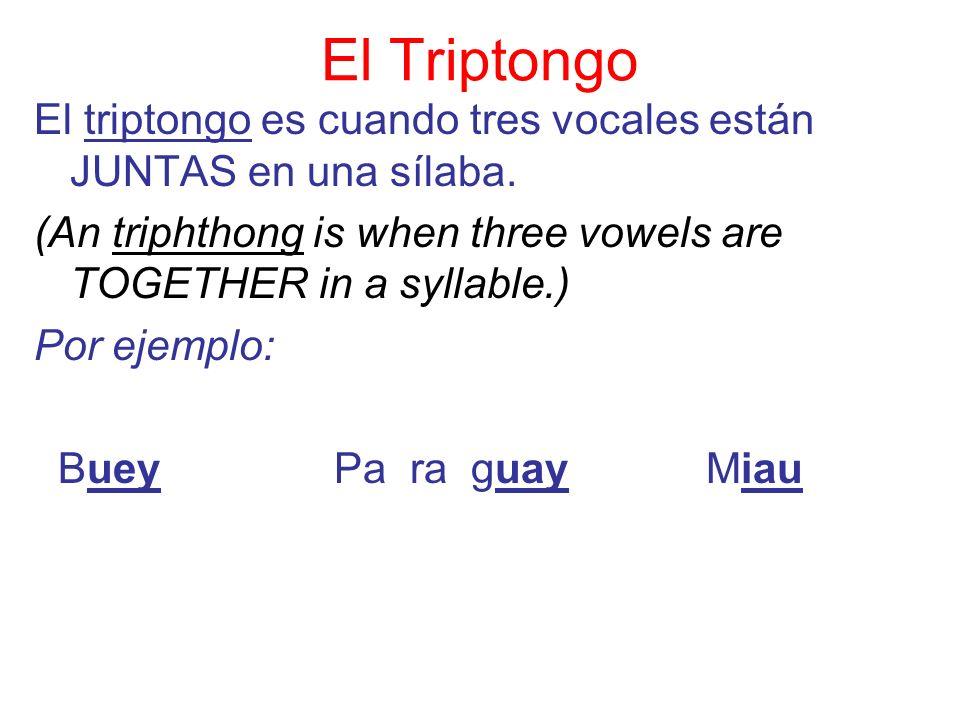 El TriptongoEl triptongo es cuando tres vocales están JUNTAS en una sílaba. (An triphthong is when three vowels are TOGETHER in a syllable.)