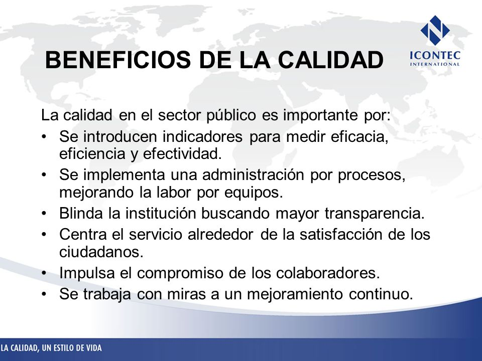 BENEFICIOS DE LA CALIDAD