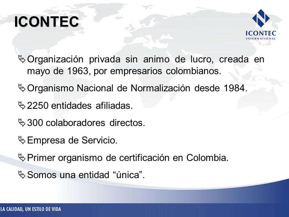 ICONTEC Organización privada sin animo de lucro, creada en mayo de 1963, por empresarios colombianos.