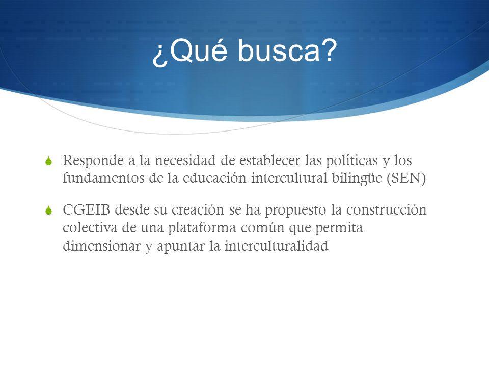 ¿Qué busca Responde a la necesidad de establecer las políticas y los fundamentos de la educación intercultural bilingüe (SEN)