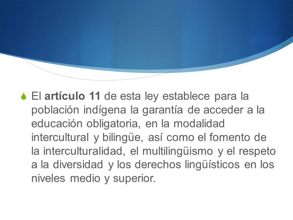El artículo 11 de esta ley establece para la población indígena la garantía de acceder a la educación obligatoria, en la modalidad intercultural y bilingüe, así como el fomento de la interculturalidad, el multilingüismo y el respeto a la diversidad y los derechos lingüísticos en los niveles medio y superior.