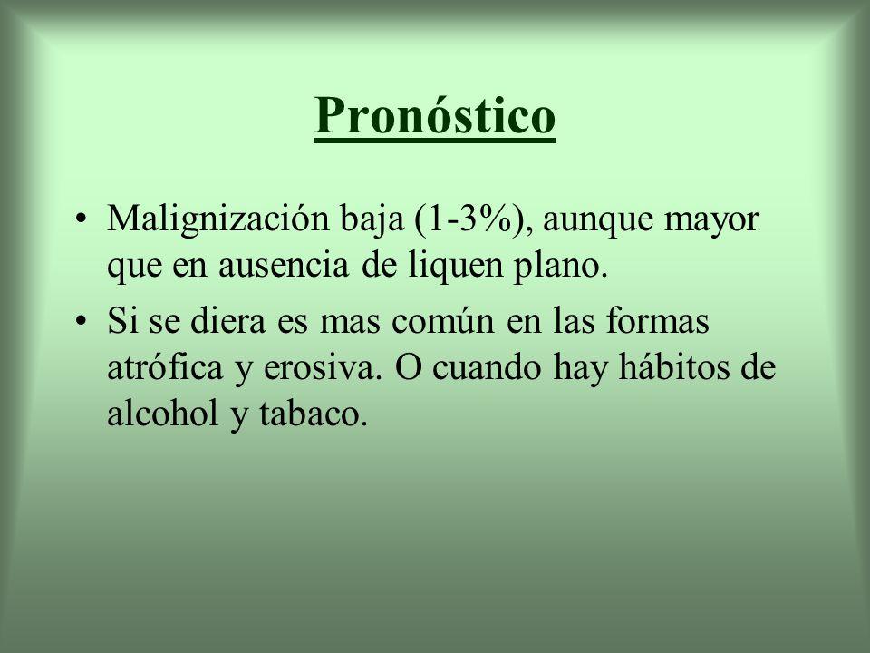 Pronóstico Malignización baja (1-3%), aunque mayor que en ausencia de liquen plano.