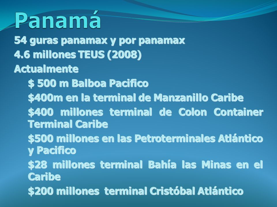 Panamá 54 guras panamax y por panamax 4.6 millones TEUS (2008)