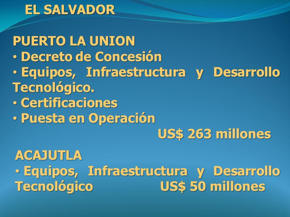 EL SALVADOR PUERTO LA UNION. Decreto de Concesión. Equipos, Infraestructura y Desarrollo Tecnológico.