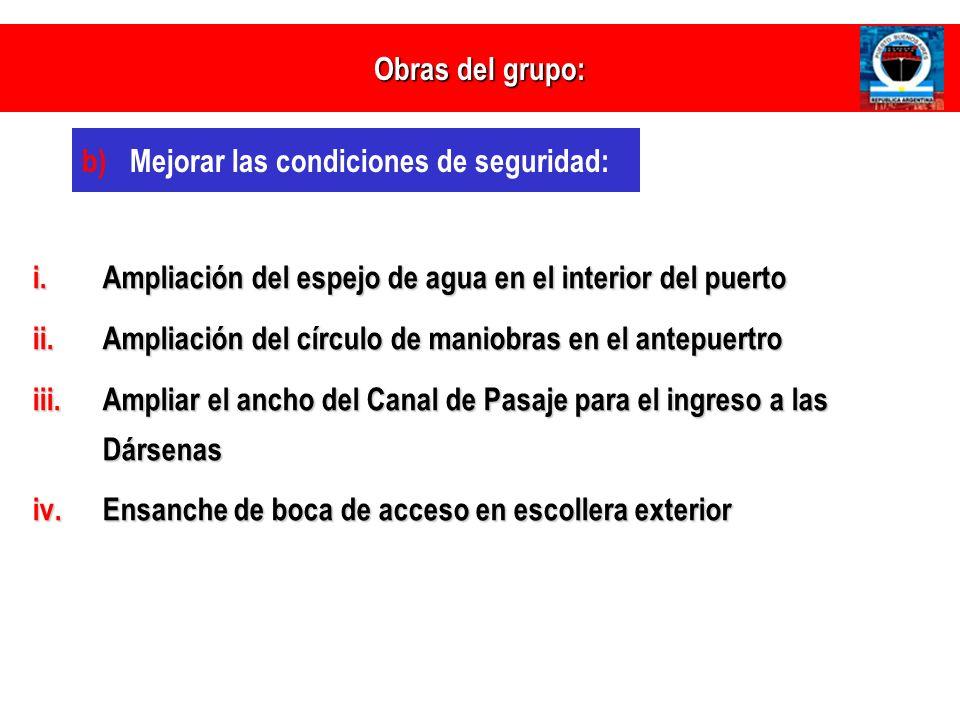Obras del grupo: Mejorar las condiciones de seguridad: Ampliación del espejo de agua en el interior del puerto.