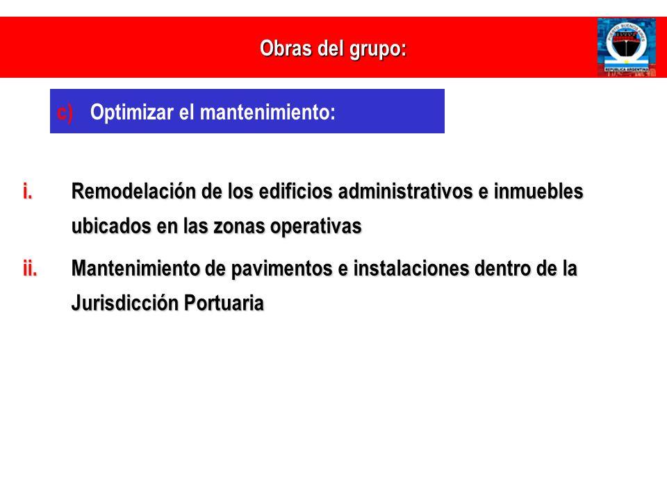 Obras del grupo: Optimizar el mantenimiento: Remodelación de los edificios administrativos e inmuebles ubicados en las zonas operativas.