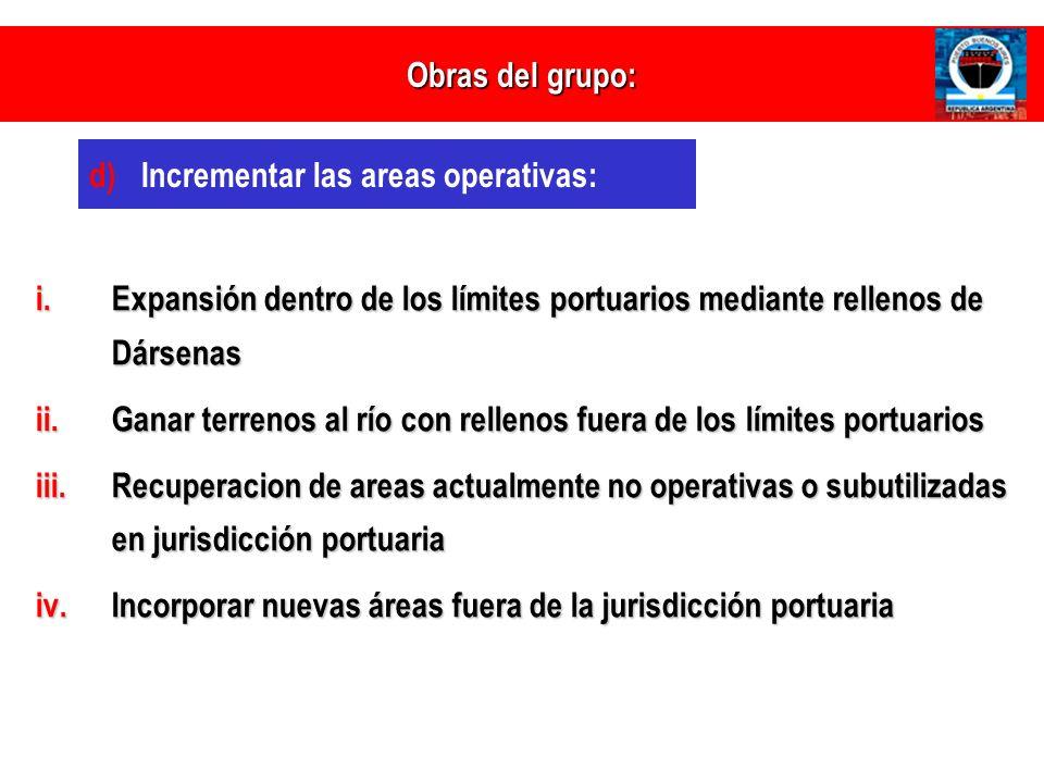 Obras del grupo: Incrementar las areas operativas: Expansión dentro de los límites portuarios mediante rellenos de Dársenas.